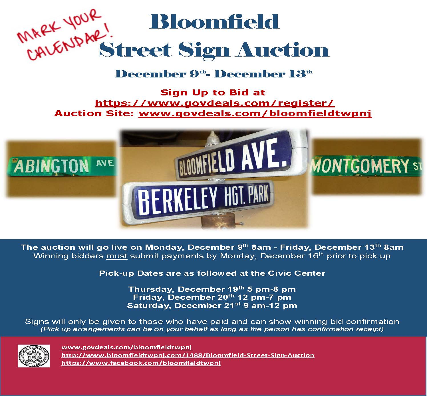 street sign auction flyer