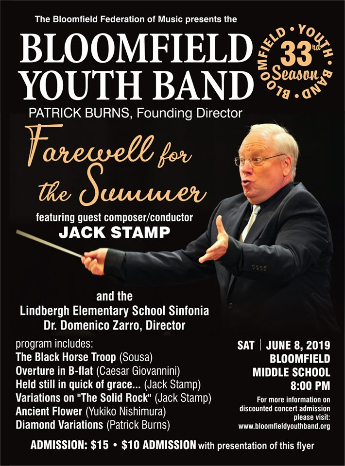 bloomfield youth band june 8 concert flyer