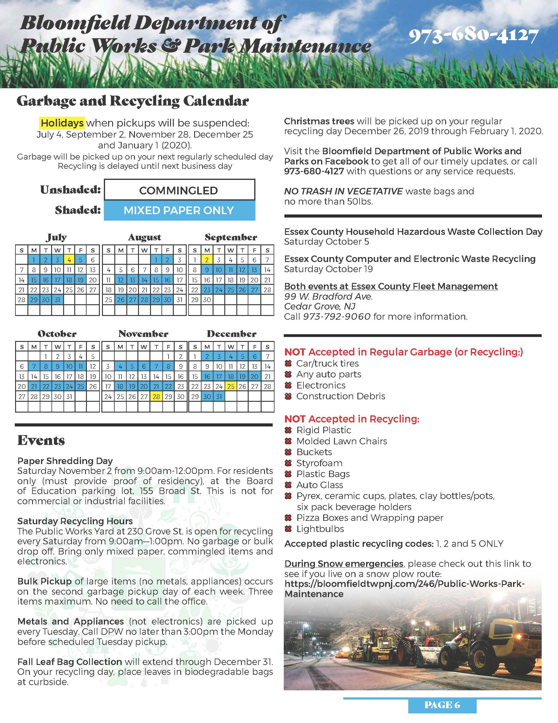 Garbage & Recycling street Schedule | Bloomfield Township, NJ